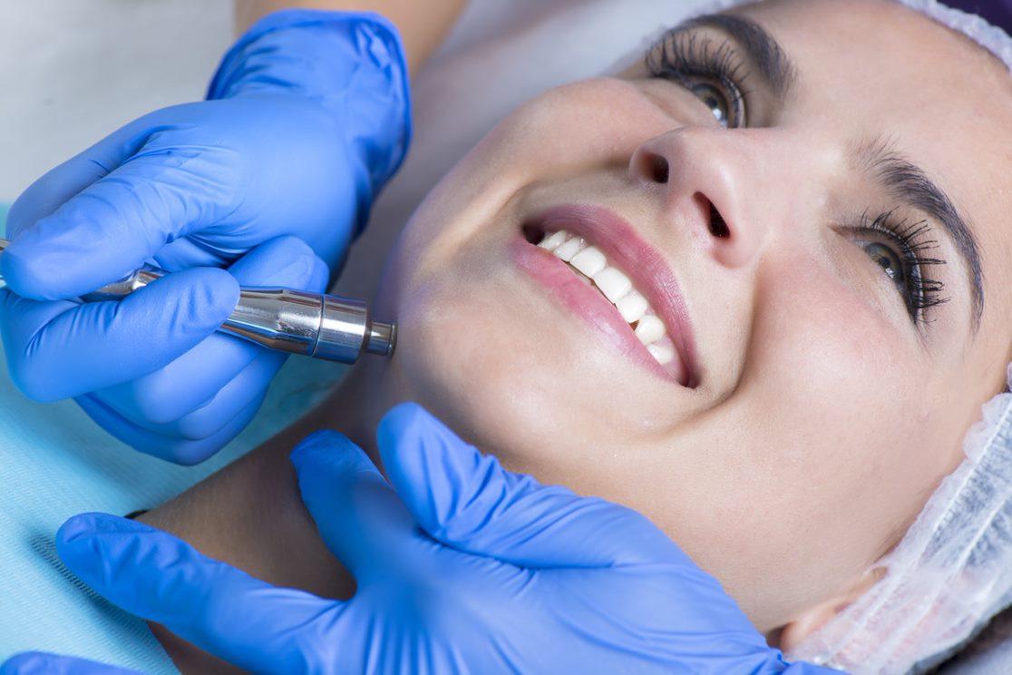 Grossmont Dermatology patient receives facial treatment